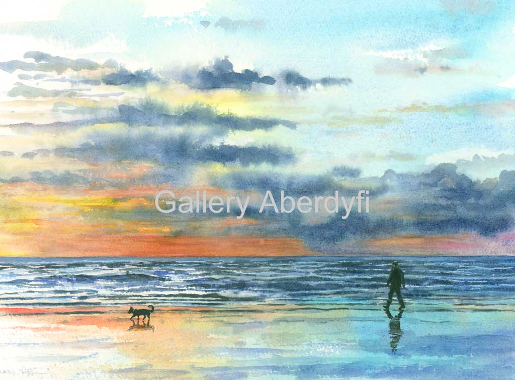 Beach Walkers at Sunset